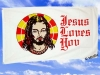 Fahnen Flaggen JESUS LOVES YOU 150 x 90 cm