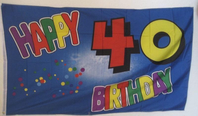Fahnen Flaggen Happy Birthday Geburtstag 40 Jahre 150 X 90 Cm