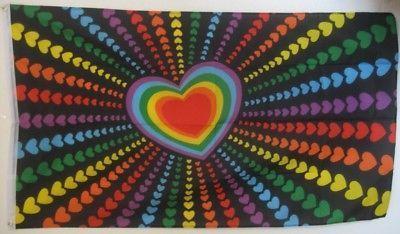 Flagge Regenbogen Herz NEU 90 x 150 cm Fahne